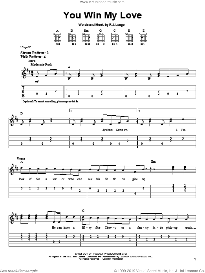 You Win My Love sheet music for guitar solo (easy tablature) by Shania Twain and Robert John Lange, easy guitar (easy tablature)