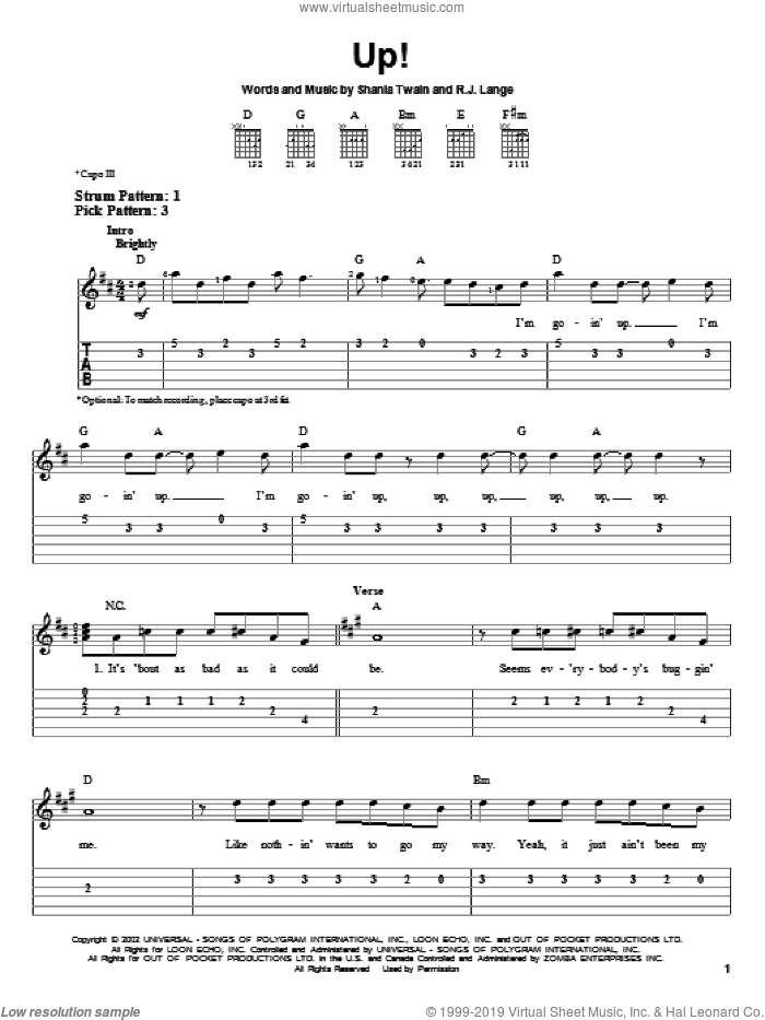 Up! sheet music for guitar solo (easy tablature) by Shania Twain and Robert John Lange, easy guitar (easy tablature)