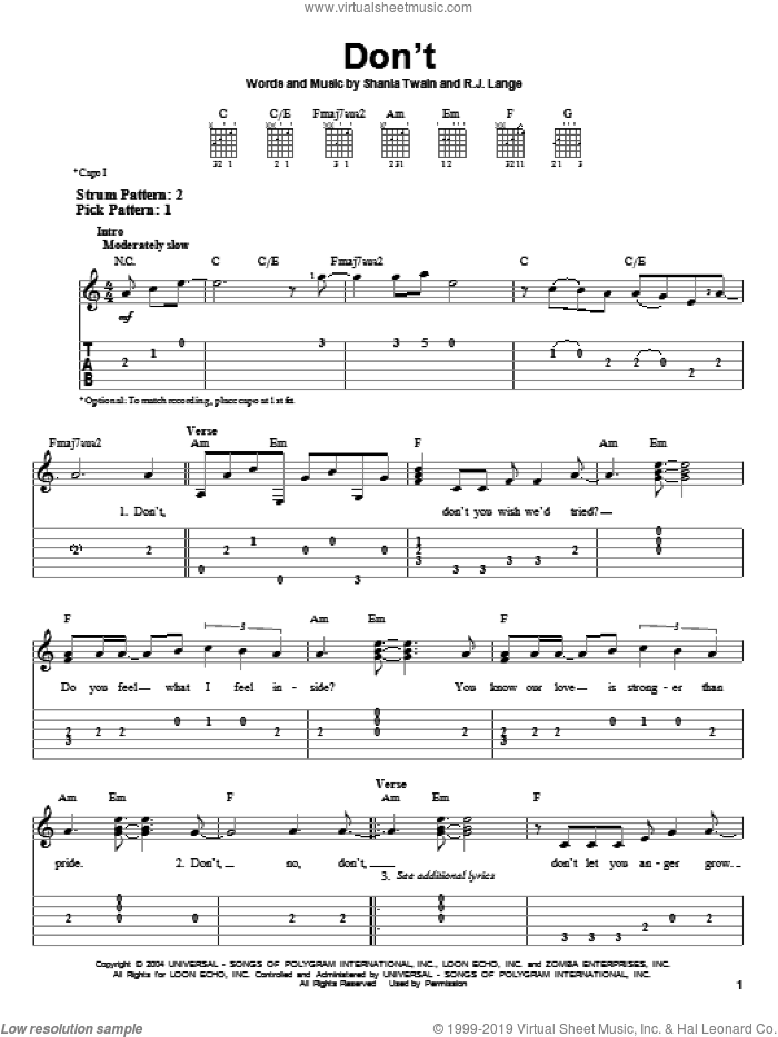 Don't! sheet music for guitar solo (easy tablature) by Robert John Lange and Shania Twain. Score Image Preview.