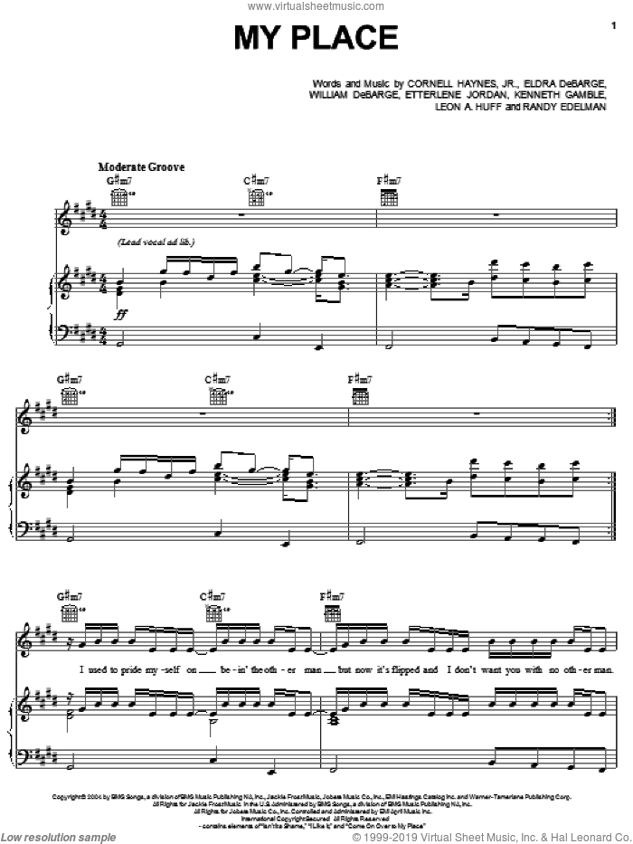 My Place sheet music for voice, piano or guitar by Nelly featuring Jaheim, Jaheim, Nelly, Cornell Haynes, Jr., Eldra DeBarge, Etterlene Jordan, Kenneth Gamble, Leon A. Huff, Randy Edelman and William DeBarge, intermediate skill level