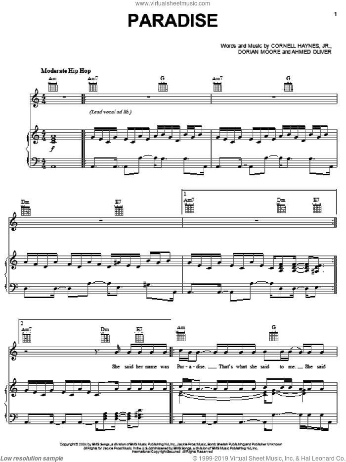 Paradise sheet music for voice, piano or guitar by Nelly, intermediate. Score Image Preview.