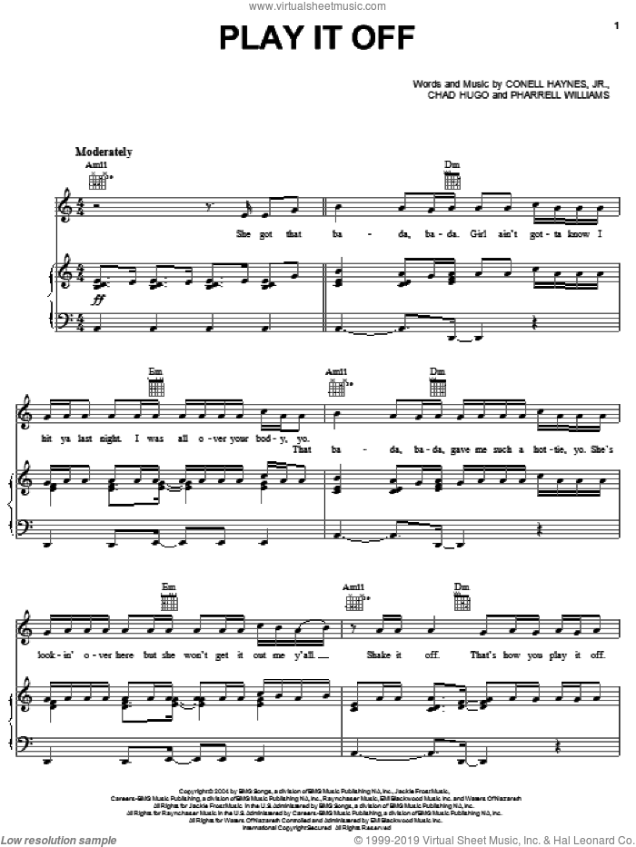 Play It Off sheet music for voice, piano or guitar by Pharrell Williams