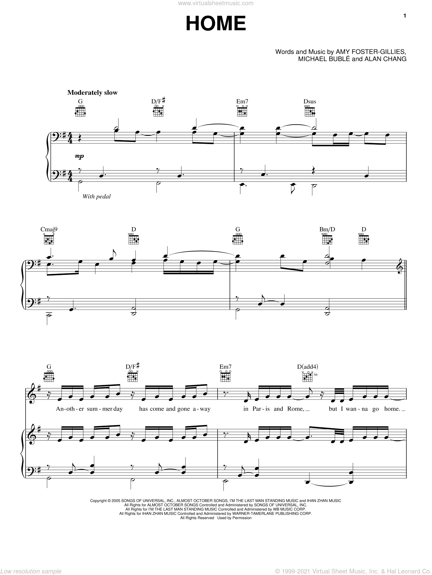 Home sheet music for voice and piano by Michael Bublé