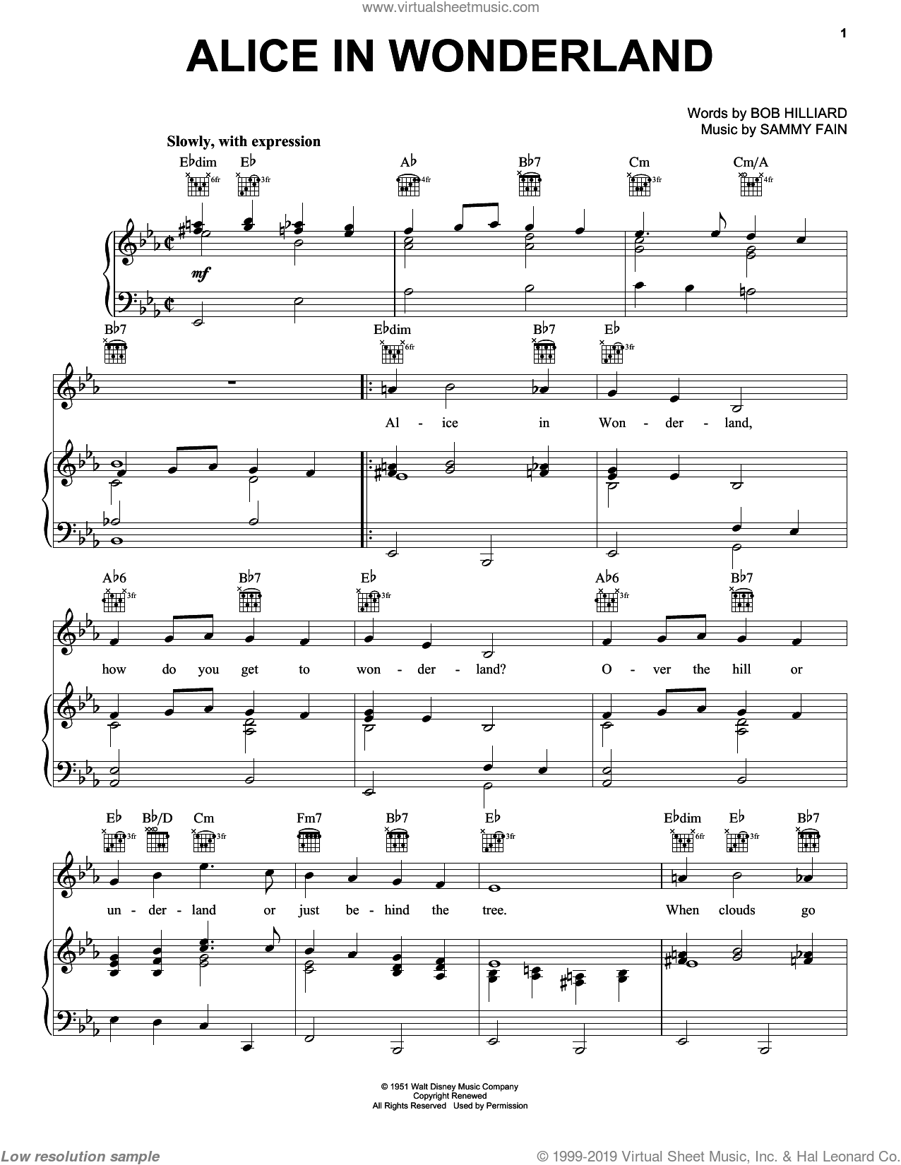 Alice In Wonderland sheet music for voice, piano or guitar by Bill Evans, Bob Hilliard and Sammy Fain, intermediate skill level