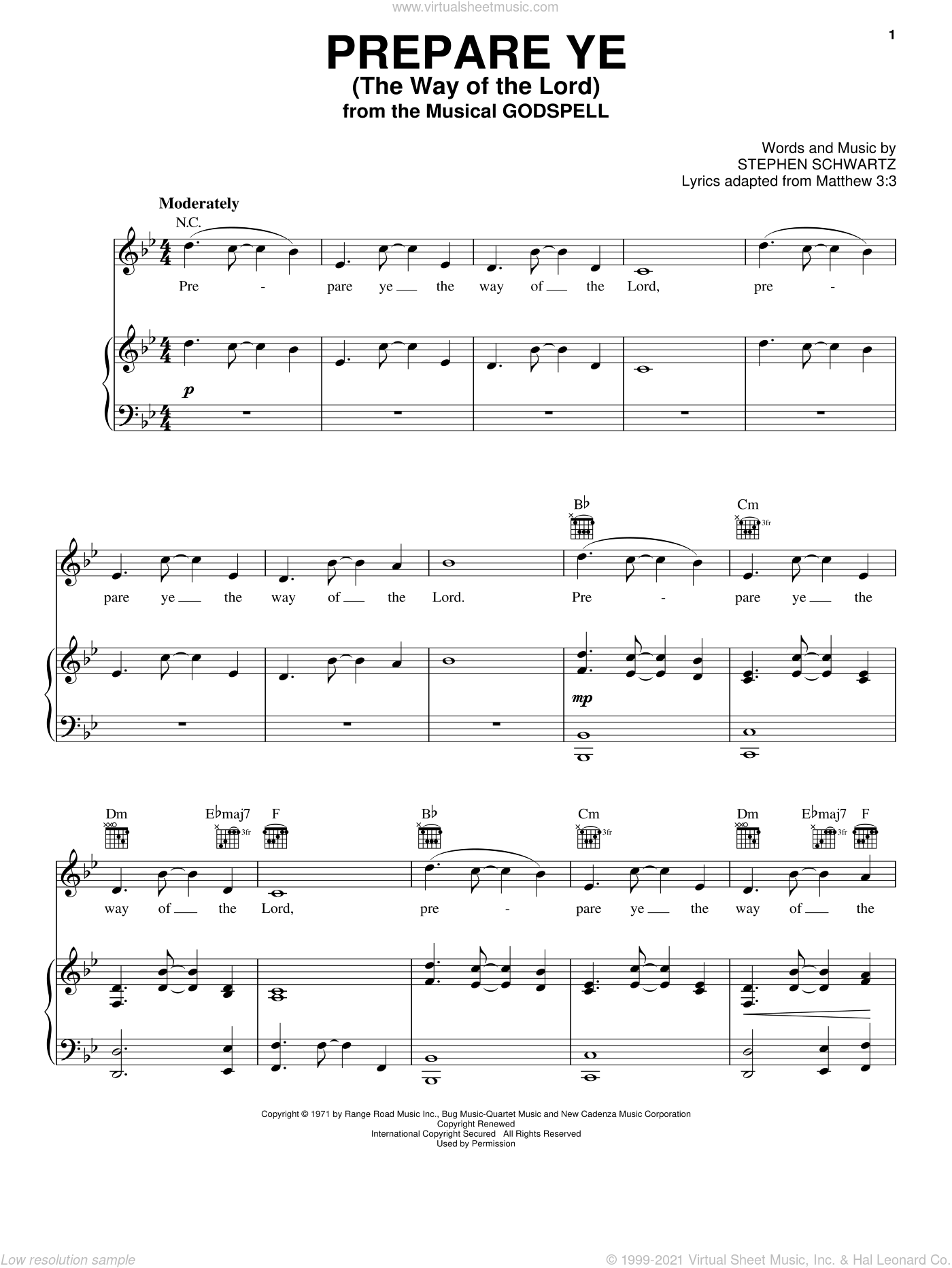 Prepare Ye (The Way Of The Lord) sheet music for voice, piano or guitar by Stephen Schwartz, intermediate voice, piano or guitar. Score Image Preview.