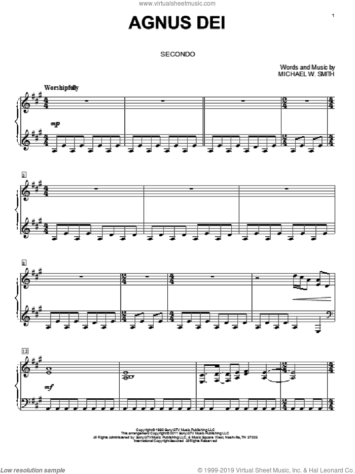 Agnus Dei sheet music for piano four hands by Michael W. Smith and Bill Wolaver, intermediate