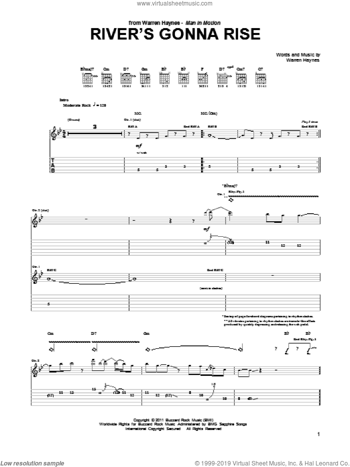 River's Gonna Rise sheet music for guitar (tablature) by Warren Haynes. Score Image Preview.