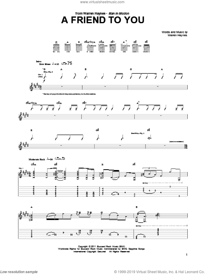 A Friend To You sheet music for guitar (tablature) by Warren Haynes, intermediate. Score Image Preview.
