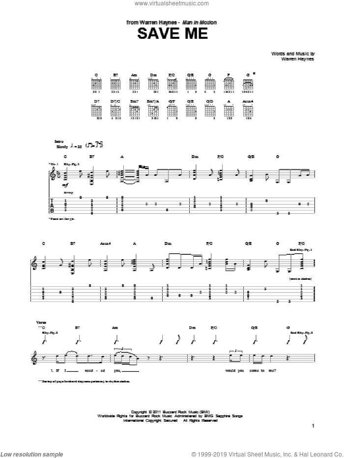 Save Me sheet music for guitar (tablature) by Warren Haynes, intermediate skill level