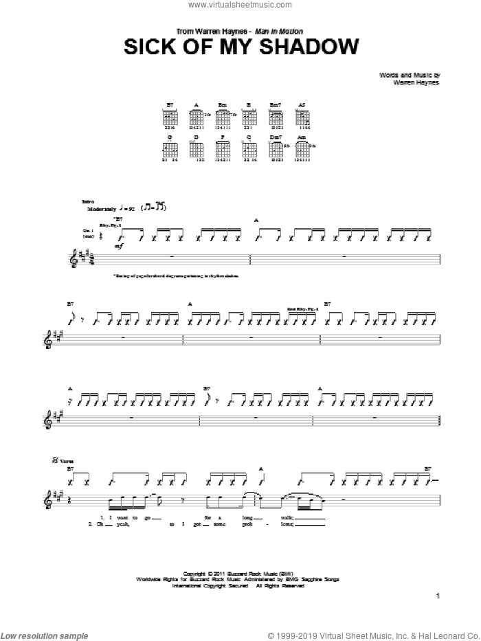 Sick Of My Shadow sheet music for guitar (tablature) by Warren Haynes. Score Image Preview.