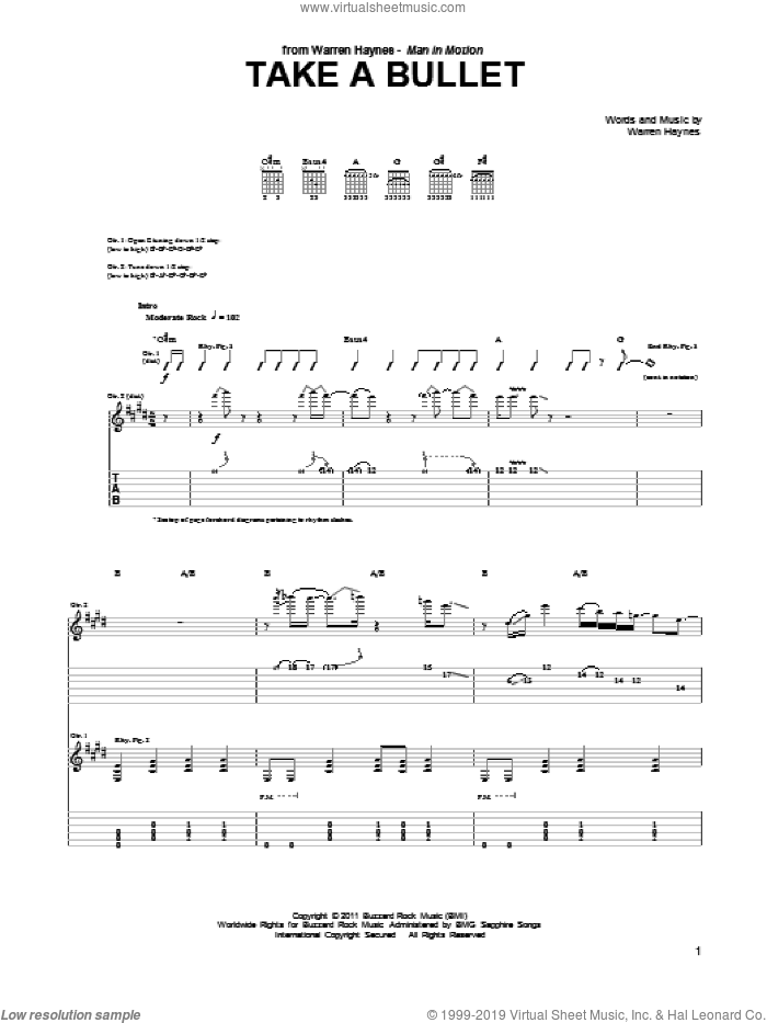 Take A Bullet sheet music for guitar (tablature) by Warren Haynes. Score Image Preview.