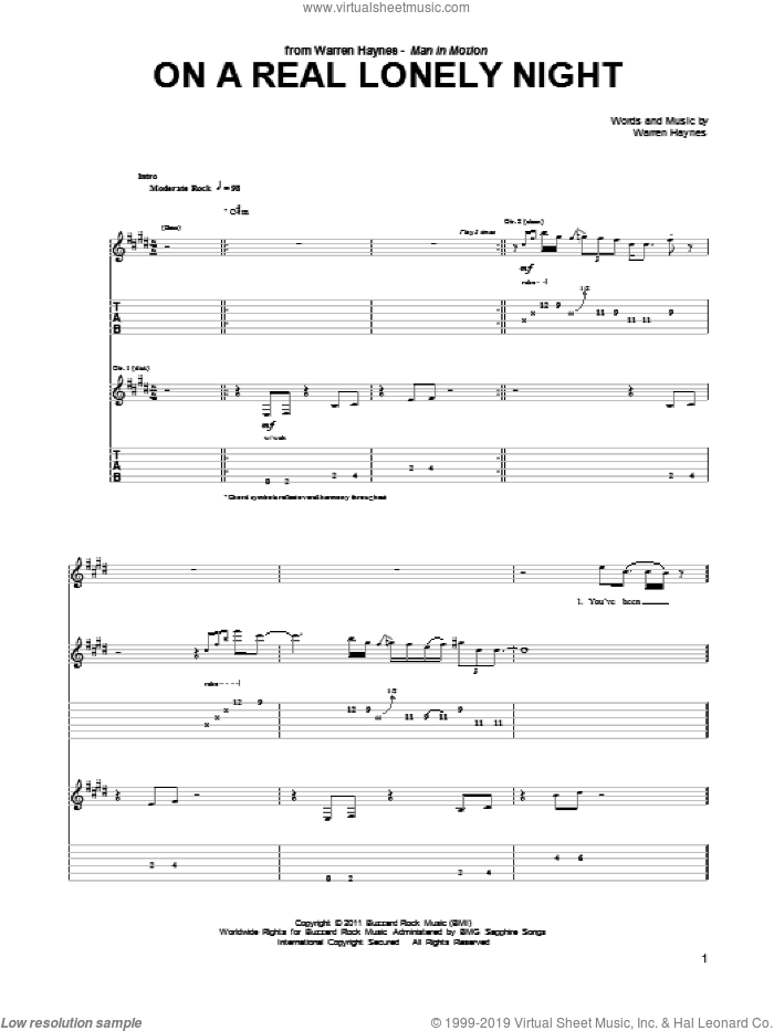 On A Real Lonely Night sheet music for guitar (tablature) by Warren Haynes. Score Image Preview.