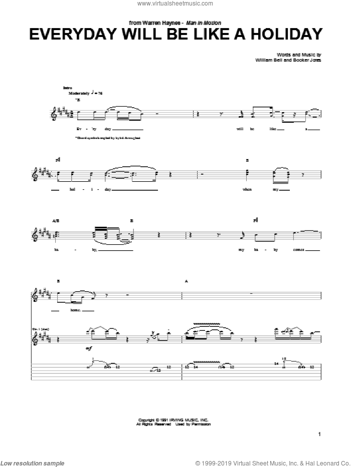 Everyday Will Be Like A Holiday sheet music for guitar (tablature) by Warren Haynes, Booker Jones and William Bell, intermediate skill level