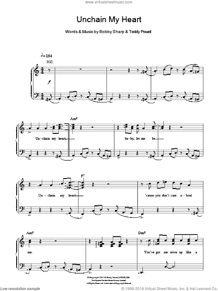 Unchain My Heart sheet music for voice and piano by Ray Charles, Bobby Sharp and Teddy Powell, intermediate skill level