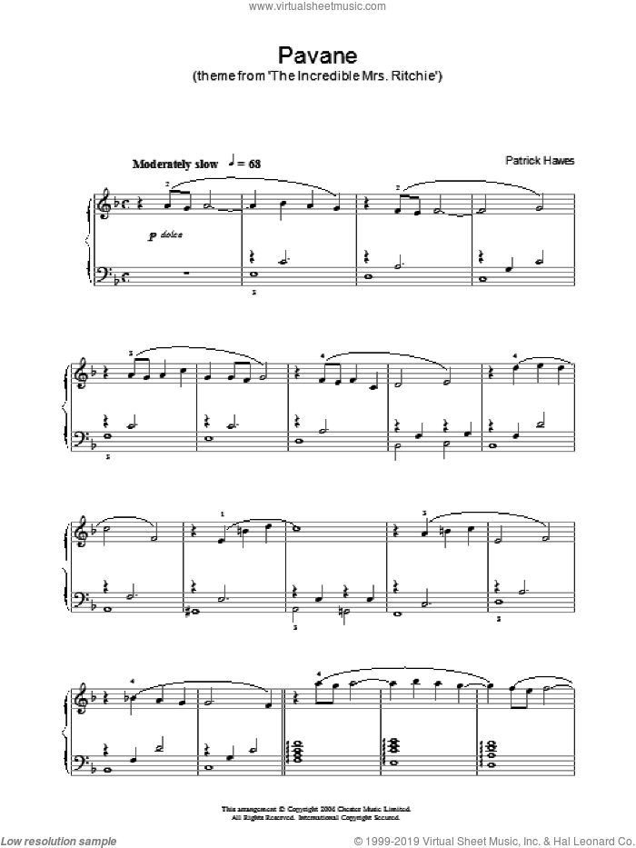 Pavane (theme from 'The Incredible Mrs Ritchie') sheet music for piano solo by Patrick Hawes. Score Image Preview.