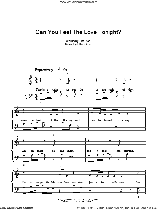 Can You Feel The Love Tonight sheet music for piano solo by Tim Rice and Elton John. Score Image Preview.