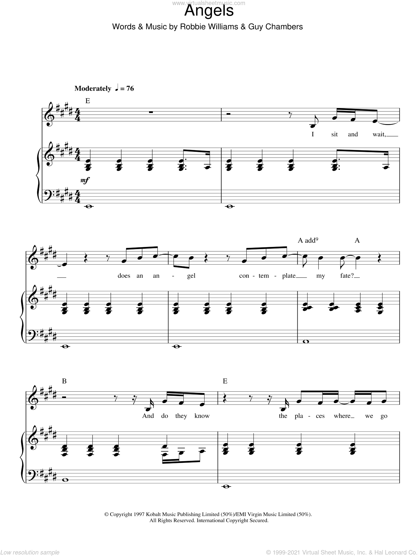 Angels sheet music for voice, piano or guitar by Robbie Williams and Guy Chambers, intermediate skill level