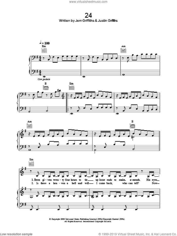 24 sheet music for voice, piano or guitar by Justin Griffiths and Jem Griffiths. Score Image Preview.