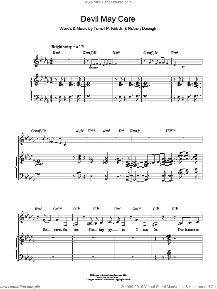Devil May Care sheet music for voice, piano or guitar by Diana Krall, Jamie Cullum and Bob Dorough. Score Image Preview.