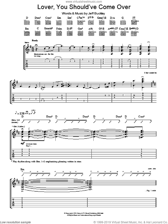 Lover, You Should've Come Over sheet music for guitar (tablature) by Jeff Buckley and Jamie Cullum, intermediate skill level
