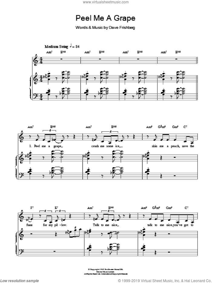Peel Me A Grape sheet music for voice, piano or guitar by Diana Krall and Dave Frishberg, intermediate skill level