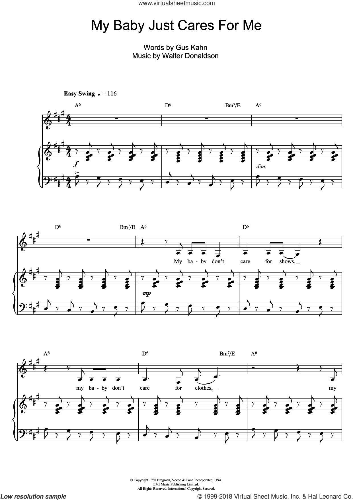 My Baby Just Cares For Me sheet music for voice, piano or guitar by Walter Donaldson