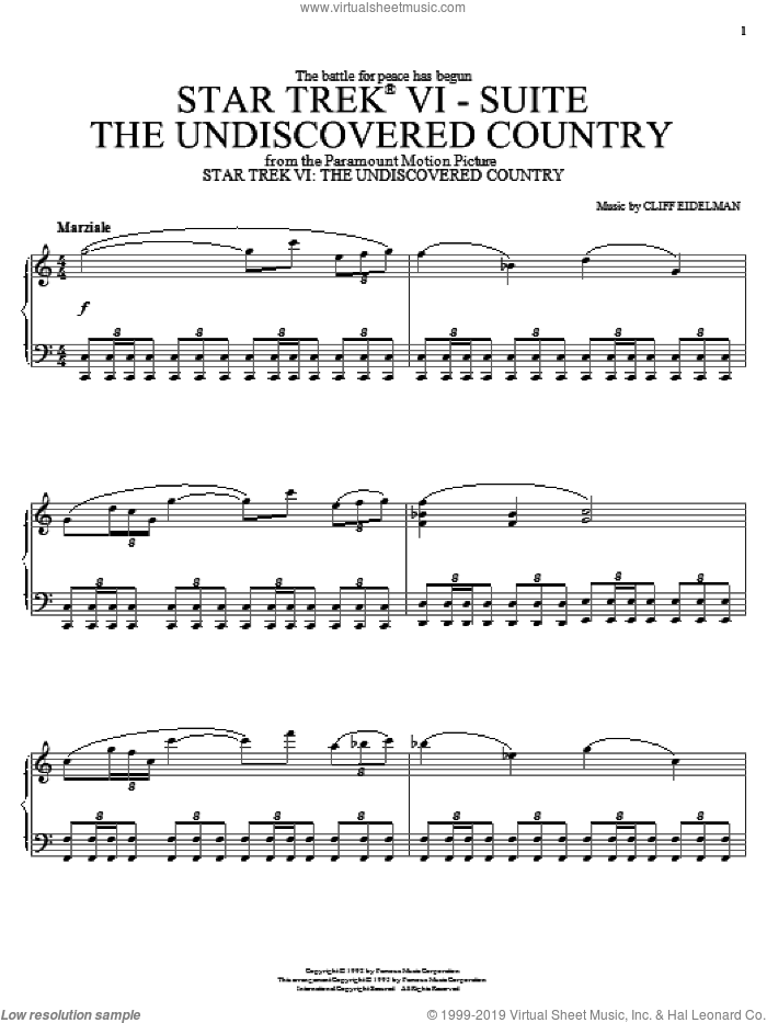 Star Trek(R) VI - The Undiscovered Country sheet music for piano solo by Cliff Eidelman and Star Trek(R), intermediate skill level