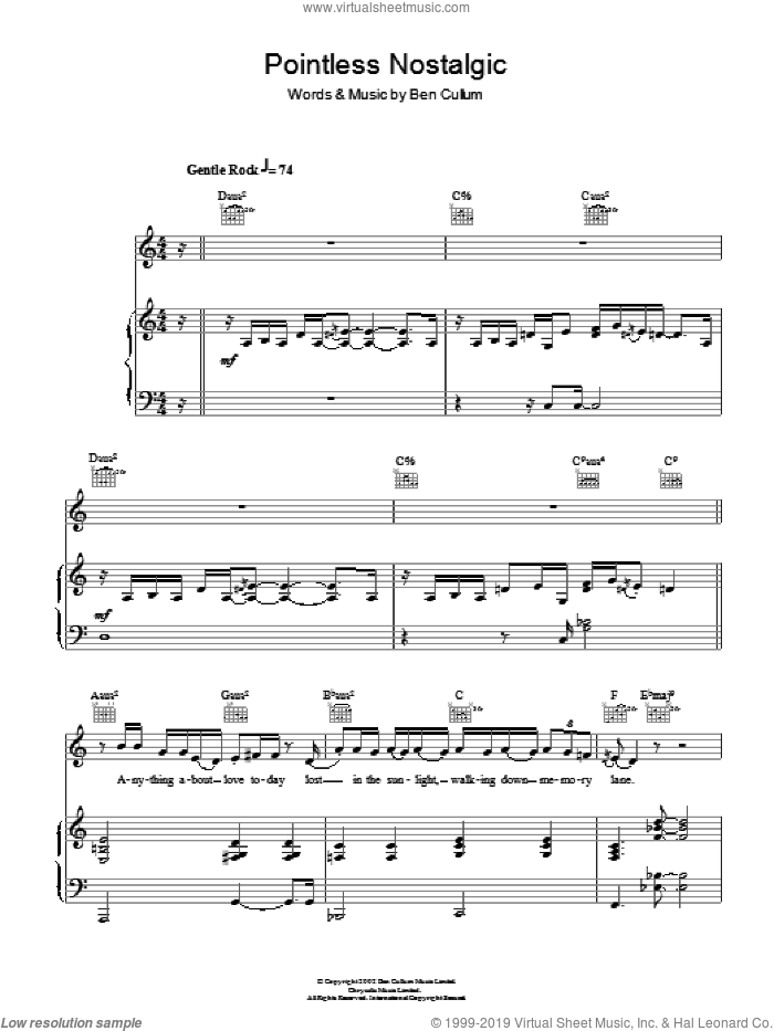 Pointless Nostalgic sheet music for voice, piano or guitar by Ben Cullum
