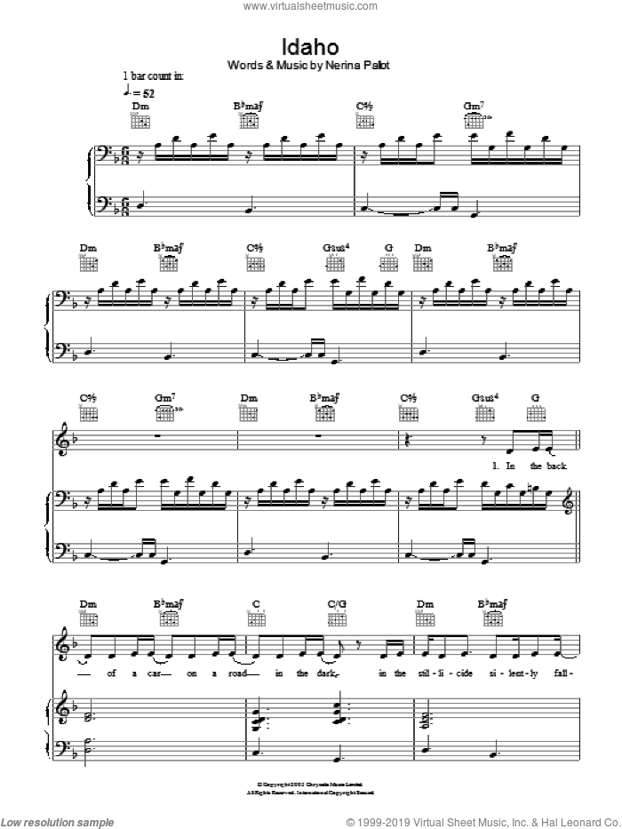 Idaho sheet music for voice, piano or guitar by Nerina Pallot, intermediate. Score Image Preview.