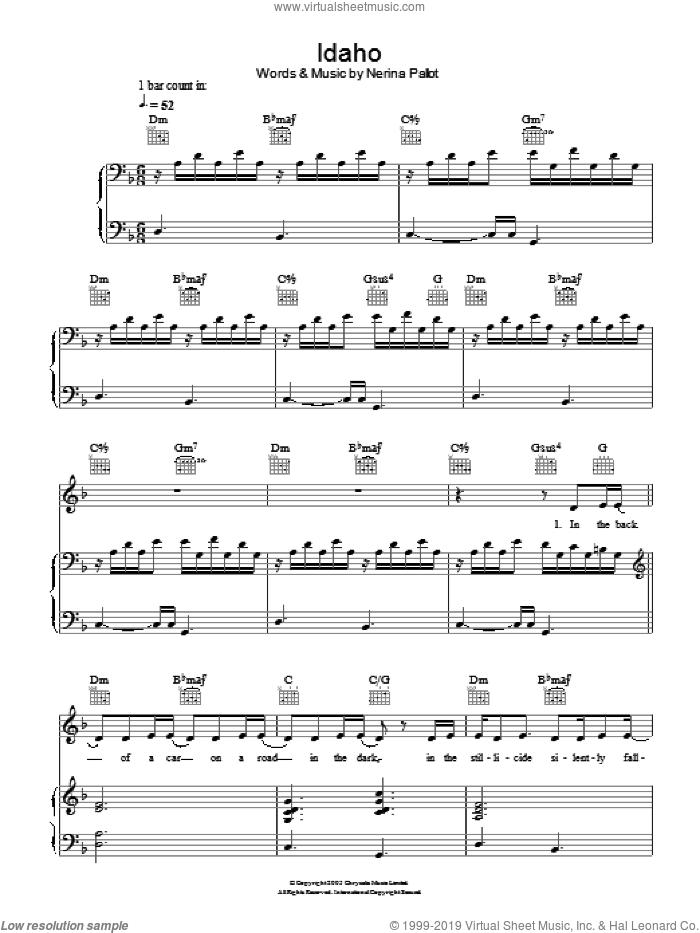 Idaho sheet music for voice, piano or guitar by Nerina Pallot, intermediate skill level