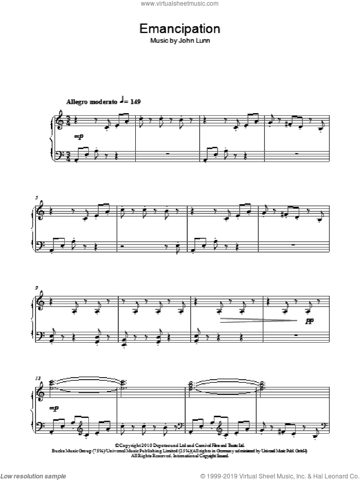Emancipation sheet music for piano solo by John Lunn, intermediate skill level