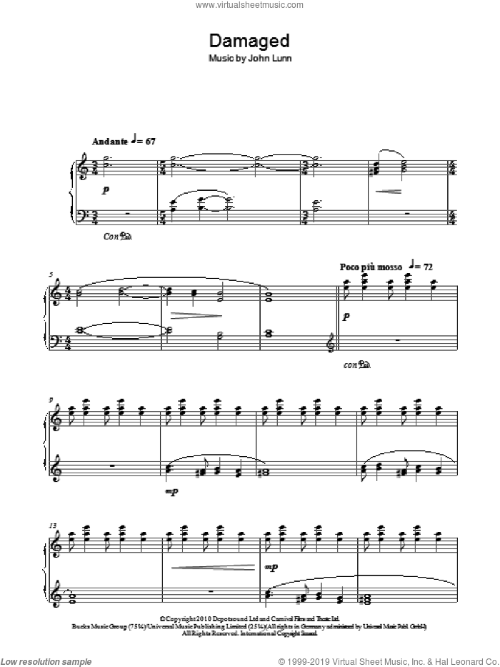 Damaged sheet music for piano solo by John Lunn, intermediate. Score Image Preview.