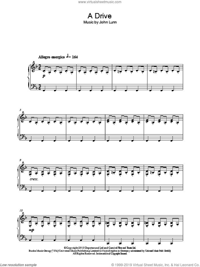 A Drive sheet music for piano solo by John Lunn, intermediate skill level