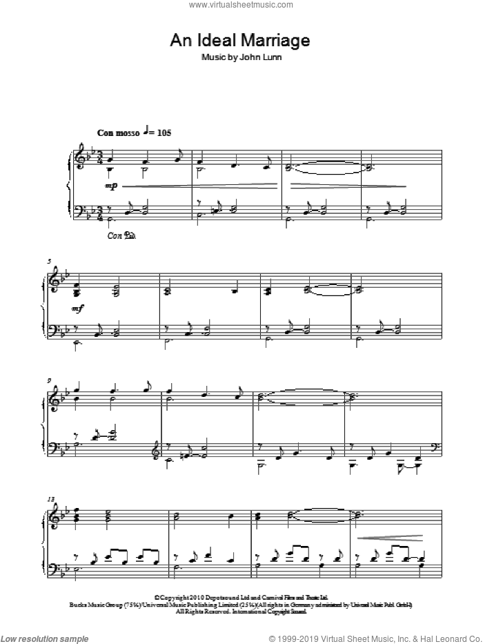 An Ideal Marriage sheet music for piano solo by John Lunn, intermediate skill level