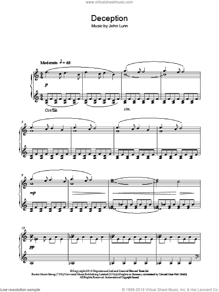 Deception sheet music for piano solo by John Lunn, intermediate skill level