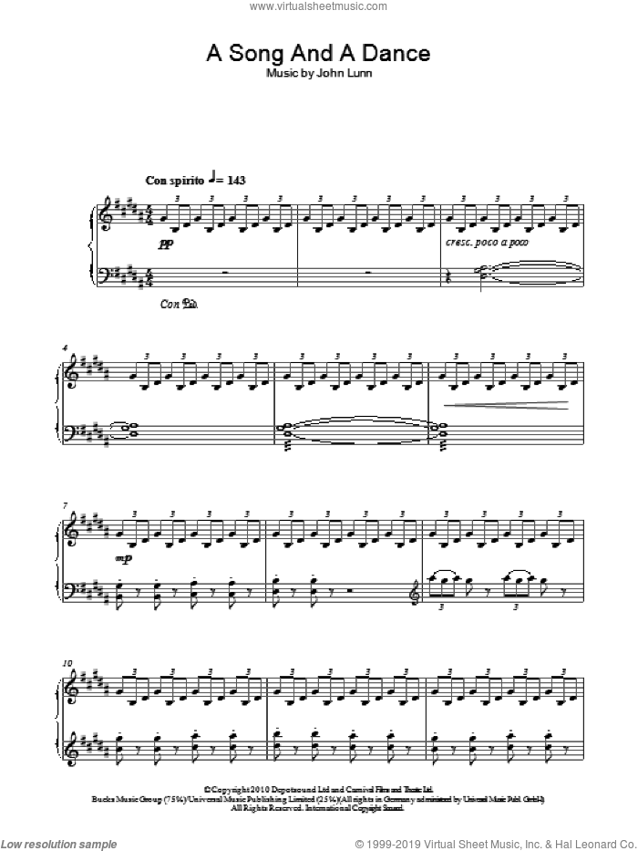 A Song And A Dance sheet music for piano solo by John Lunn, intermediate skill level