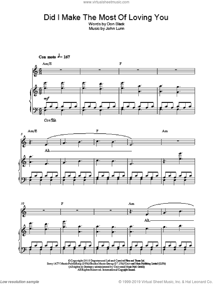 Did I Make The Most Of Loving You sheet music for piano solo by Don Black and John Lunn. Score Image Preview.