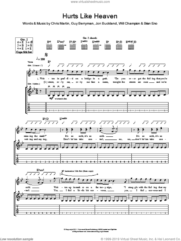 Hurts Like Heaven sheet music for guitar (tablature) by Will Champion, Coldplay, Brian Eno, Chris Martin, Guy Berryman and Jon Buckland. Score Image Preview.