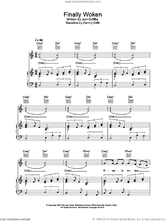 Finally Woken sheet music for voice, piano or guitar by Jem, Danny Griffin and Jem Griffiths, intermediate