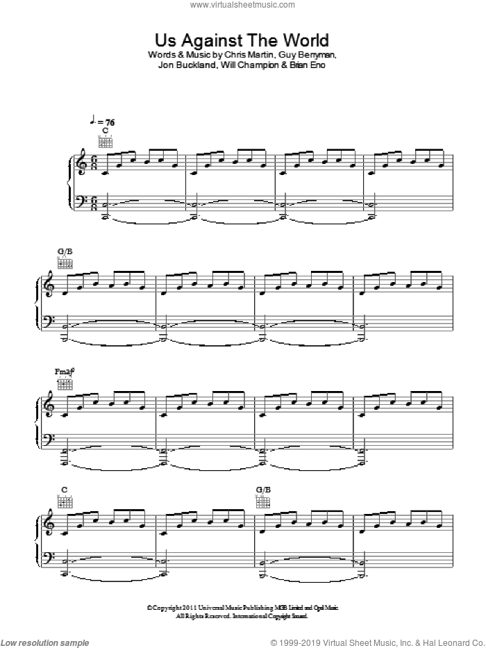 Us Against The World sheet music for voice, piano or guitar by Coldplay, Brian Eno, Chris Martin, Guy Berryman, Jon Buckland and Will Champion, intermediate skill level