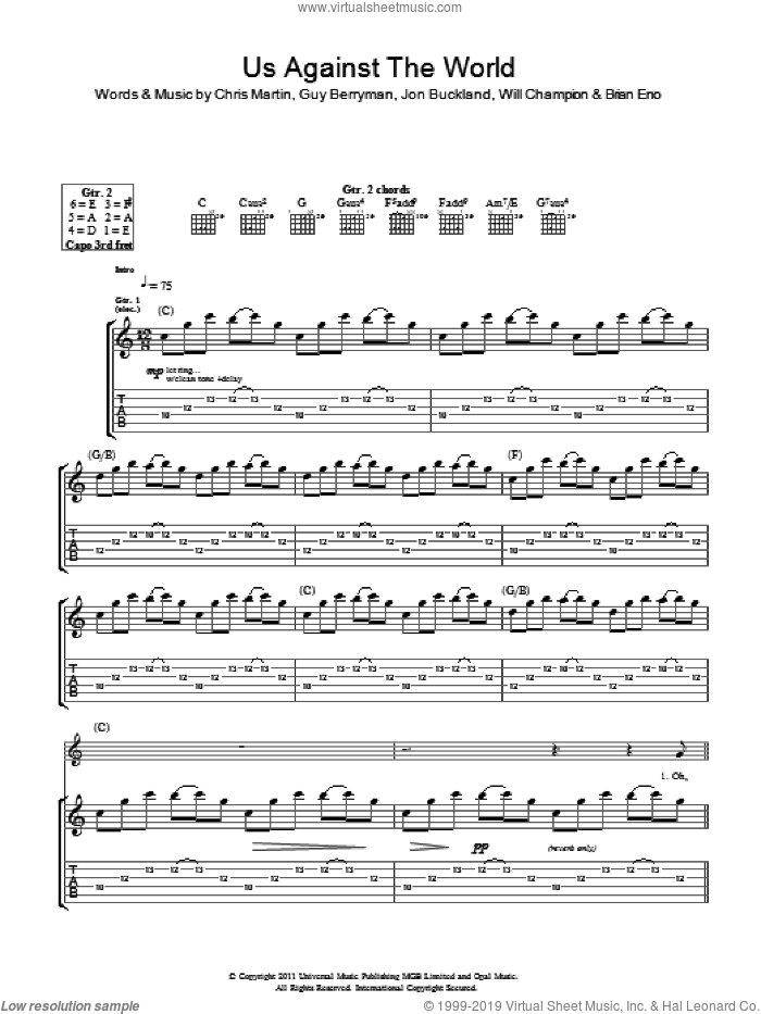 Us Against The World sheet music for guitar (tablature) by Will Champion, Coldplay, Brian Eno, Chris Martin, Guy Berryman and Jon Buckland. Score Image Preview.