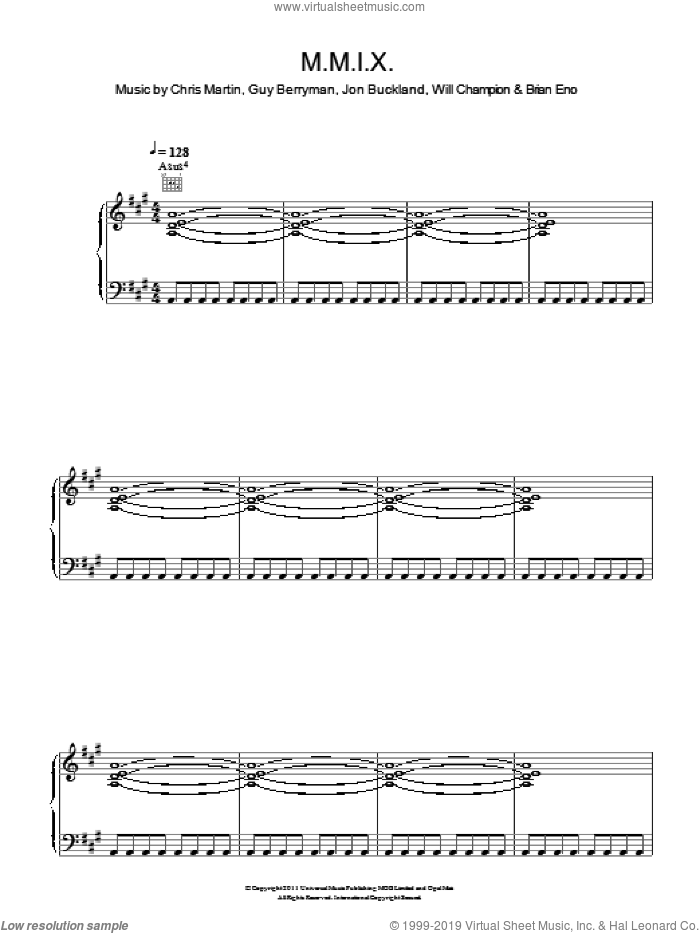 M.M.I.X. sheet music for voice, piano or guitar by Coldplay, Brian Eno, Chris Martin, Guy Berryman, Jon Buckland and Will Champion, intermediate. Score Image Preview.