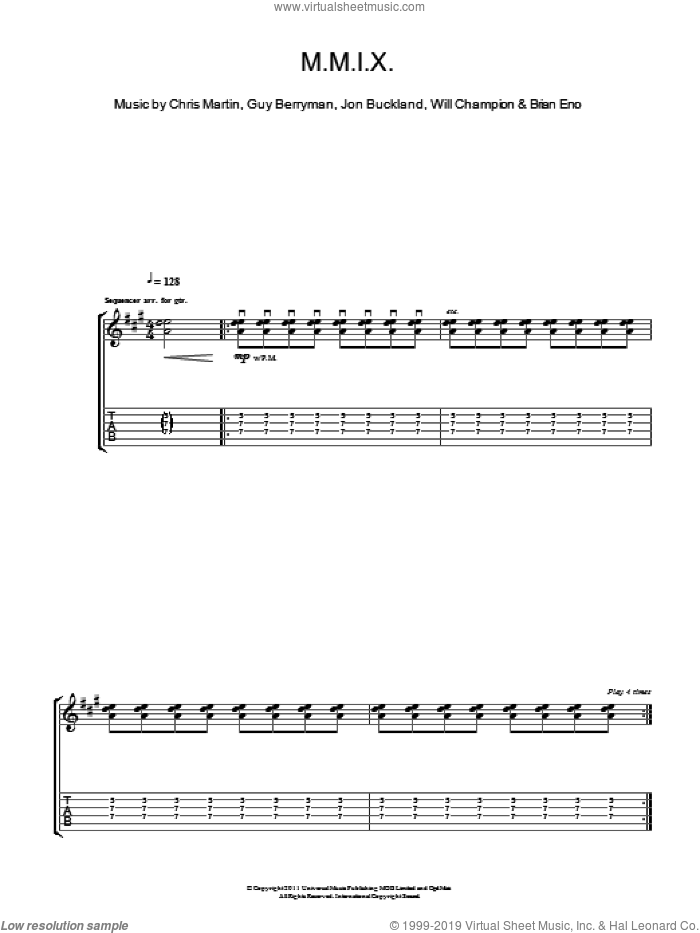 M.M.I.X. sheet music for guitar (tablature) by Will Champion, Coldplay, Brian Eno, Chris Martin, Guy Berryman and Jon Buckland. Score Image Preview.