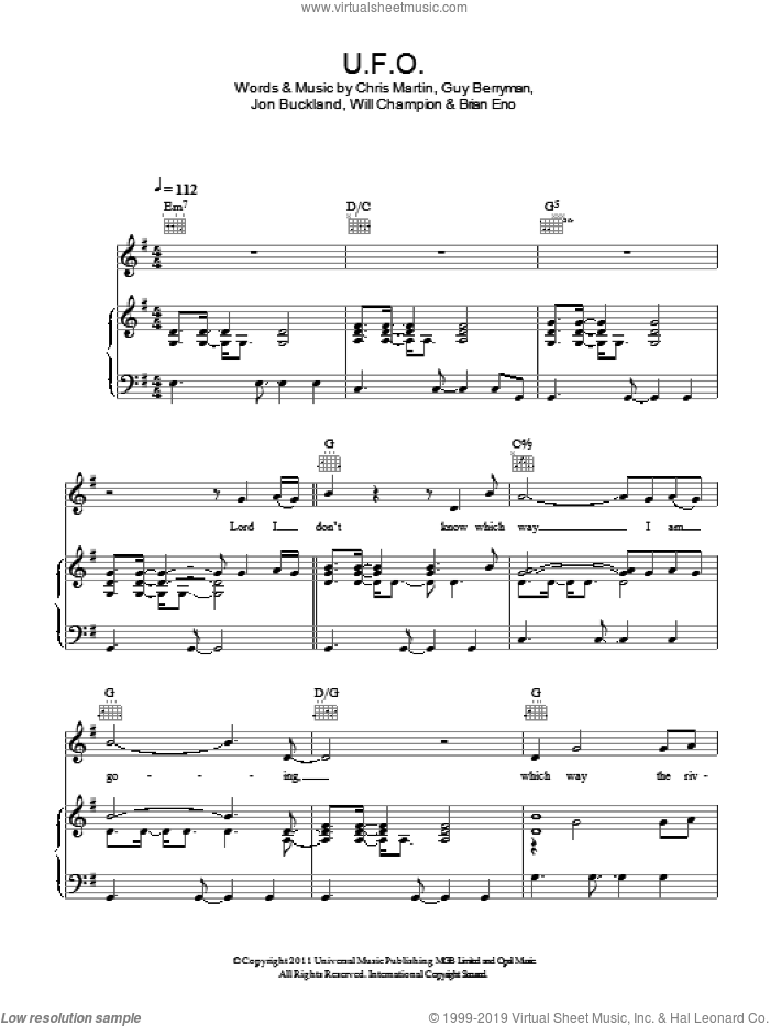 U.F.O. sheet music for voice, piano or guitar by Will Champion, Coldplay, Brian Eno, Chris Martin, Guy Berryman and Jon Buckland. Score Image Preview.