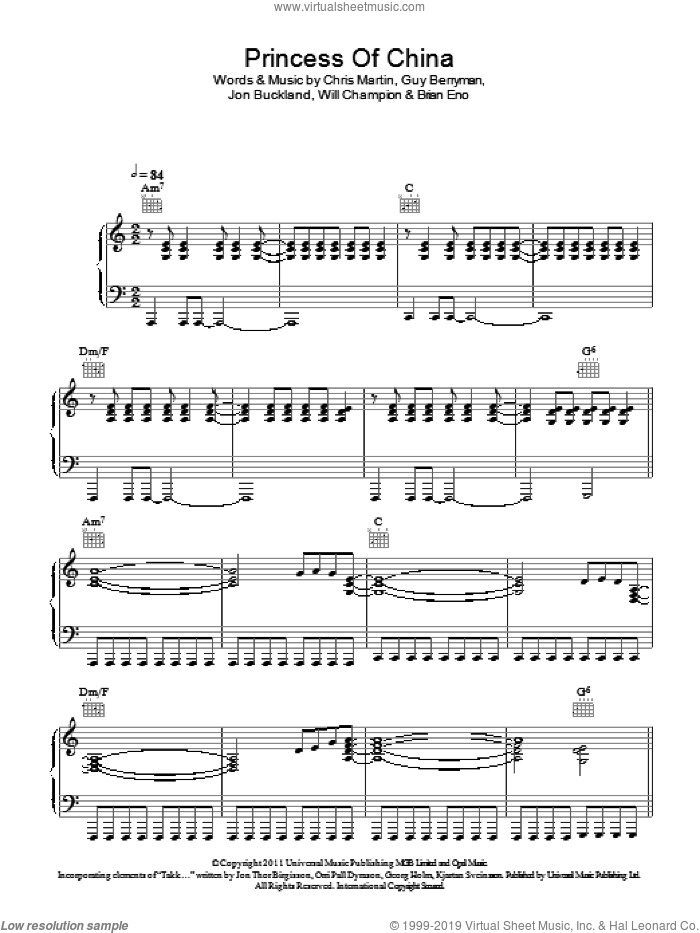 Princess Of China sheet music for voice, piano or guitar by Will Champion, Coldplay, Brian Eno, Chris Martin, Guy Berryman and Jon Buckland. Score Image Preview.