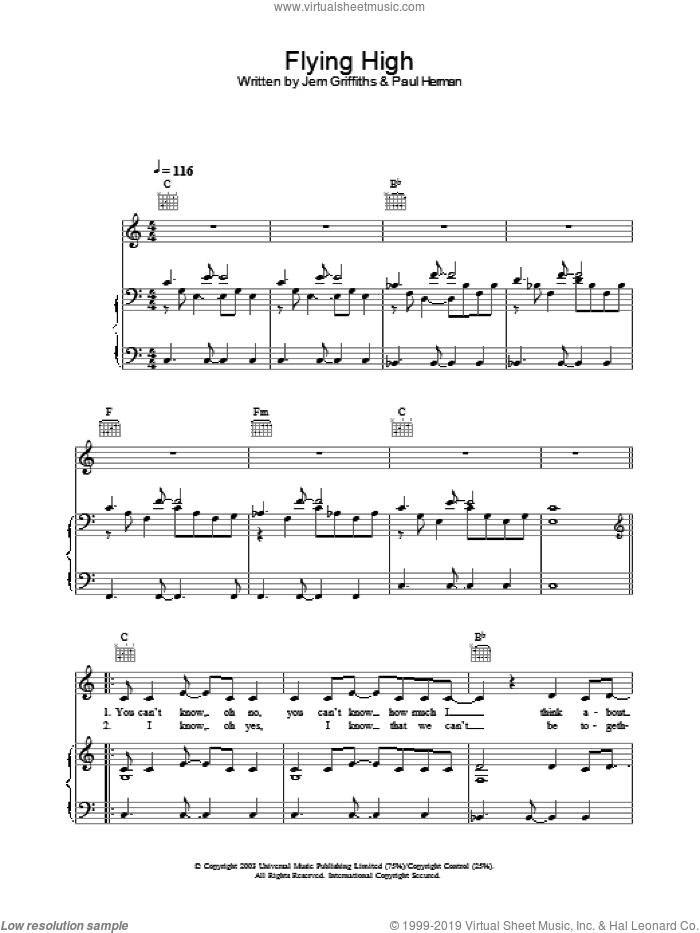 Flying High sheet music for voice, piano or guitar by Paul Herman