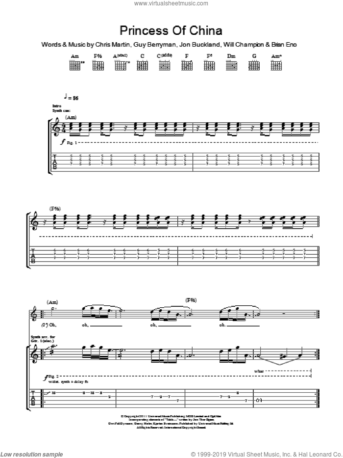 Princess Of China sheet music for guitar (tablature) by Will Champion, Coldplay, Brian Eno, Chris Martin, Guy Berryman and Jon Buckland. Score Image Preview.