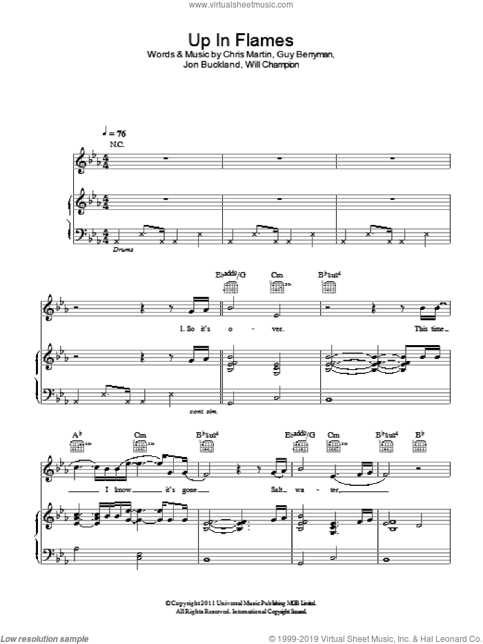 Up In Flames sheet music for voice, piano or guitar by Coldplay, intermediate. Score Image Preview.