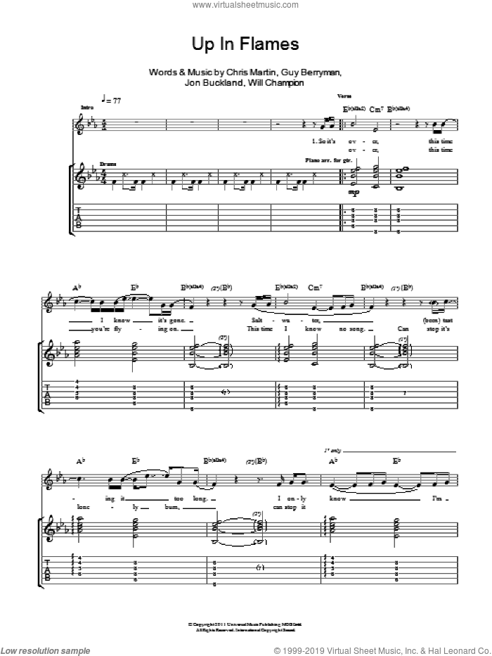 Up In Flames sheet music for guitar (tablature) by Will Champion, Coldplay, Chris Martin, Guy Berryman and Jon Buckland. Score Image Preview.