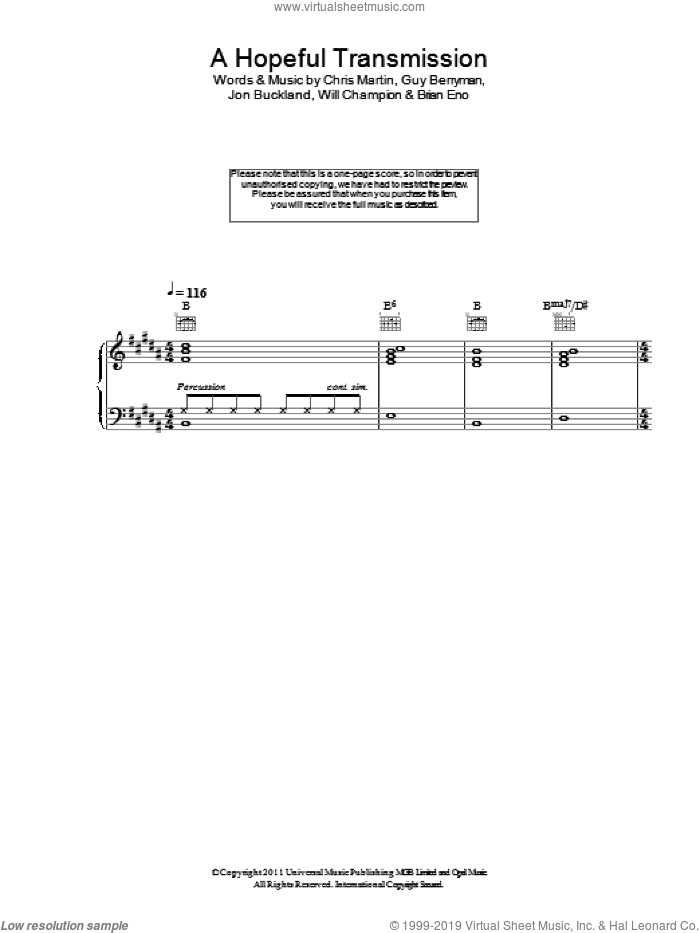 A Hopeful Transmission sheet music for voice, piano or guitar by Coldplay and Brian Eno, intermediate voice, piano or guitar. Score Image Preview.